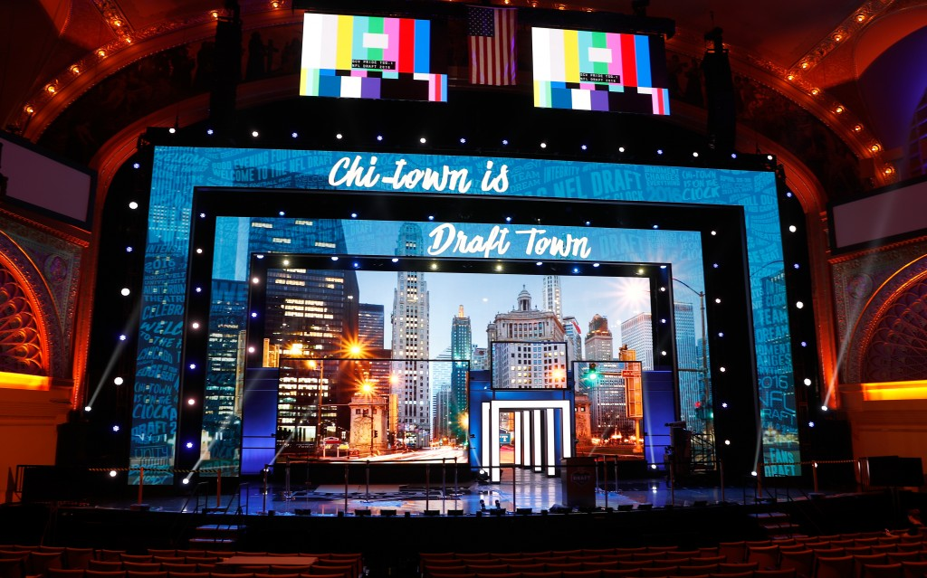 An overall, general view of the stage is seen in preparation for the 2016 NFL Draft at the Auditorium Theatre on Tuesday, April 26, 2016 in Chicago. (Ben Liebenberg via AP)